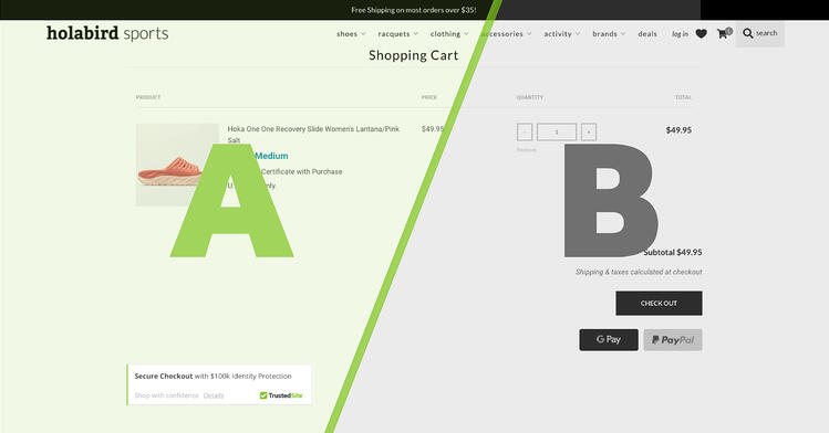 A/B Test on Holabird Sports' site via TrustedSite and Blue Green